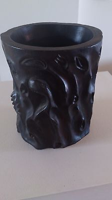 Chinese Zitan Scholar's Brush Pot - Beautifully carved Large