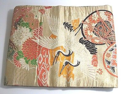 Genuine Japanese Kimono Obi Multi-Color Bird Pattern