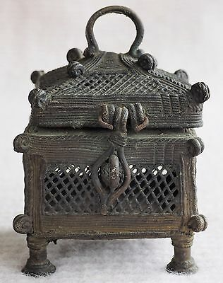 Very Old Chinese Brass Metal Wire Work Cricket Cage Box