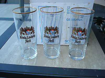 12 Konig Lugwig Hell Beer Glasses .5 L New In Original Case Box Germany