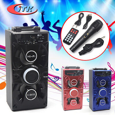 Pure Acoustics Bluetooth Speaker Portable Karaoke Machine Aux IN Mic & FM Radio