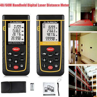40/60M Handheld Digital Laser DistanceMeter Rangefinder Area Volume Tape Measure