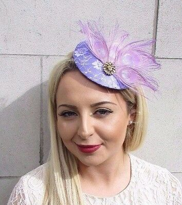 Lilac Light Purple Gold Feather Fascinator Pillbox Hat Races Wedding Hair 3680