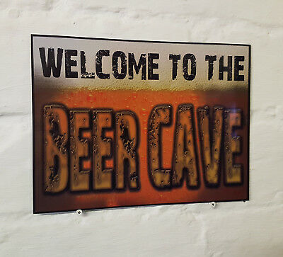 Welcome to the beer cave Larger Retro metal Aluminium Sign vintage bar pub signs