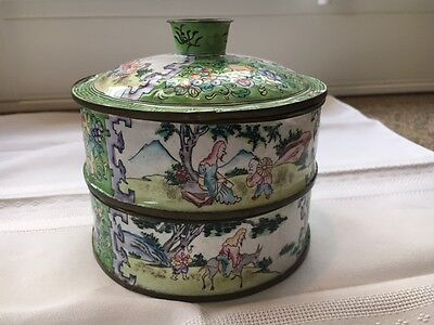 Green Enamel 19Th/20Th C. Chinese Canton Stacking Food Container
