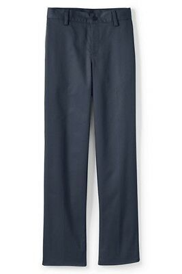 LANDS END Navy School Uniform Plain Front Iron Knee Blended Chino Pants Boys 5