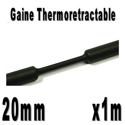 Gaine Thermo Rétractable 2:1 - Diam. 20 mm - Noir - 1m