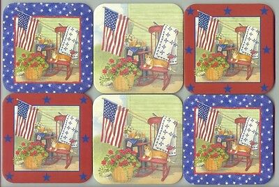 6 Longaberger Basket Coasters Country Flag Stars Quilt Red Blue Green