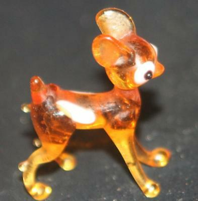 "Vintage TINY Blown Glass Hand Made Deer Figurine Printer's Box Size Old 1"" Long"