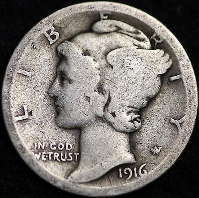 1916-P Mercury Dime / Circulated Grade Good / Very Good 90% Silver Coin