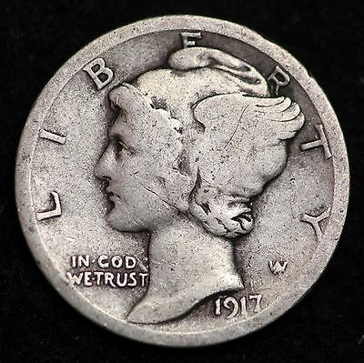 1917-P Mercury Dime / Circulated Grade Good / Very Good 90% Silver Coin