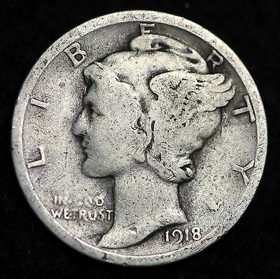 1918-P Mercury Dime / Circulated Grade Good / Very Good 90% Silver Coin