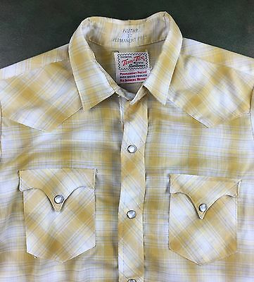 Vintage Youth Size 12 70s Tem-Tex Yellow Rockabilly Pearl Snap Western Shirt