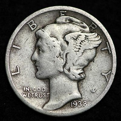 1938-D Mercury Dime / Circulated Grade Good / Very Good 90% Silver Coin