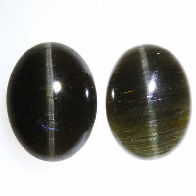 3.160 Ct VERY RARE FINE QUALITY 100% NATURAL SILLIMANITE CAT'S EYE INTENSE PAIR!