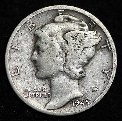 1945 Micro-S Mercury Dime / Circulated Grade Good / Very Good 90% Silver Coin