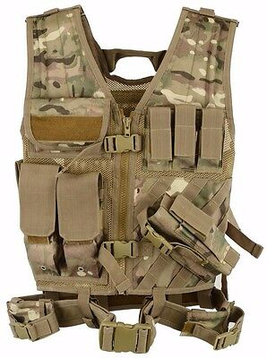 Airsoft TACTICAL VEST MTP Combat Assault Army Molle Attachment Rig MAG Pouches