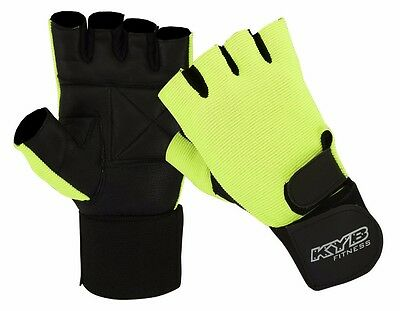 UNISEX Fluorescent Weight Lifting Gym Wrist Support Wrap Strap Fitness Gloves UK
