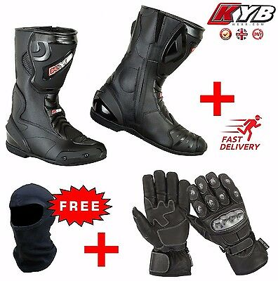 New OFFER Leather Motorbike Motorcycle Boots Shoes Gloves Knuckle Armour Boot CE