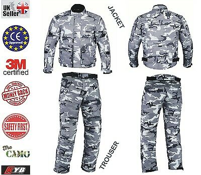 CAMO Waterproof Motorcycle Trouser Jacket Armour Thermal Motorbike 2 piece Suit