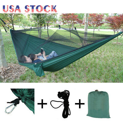 Portable Nylon Hammock Parachute 2 Person Camping Hanging Bed with Mosquito Net