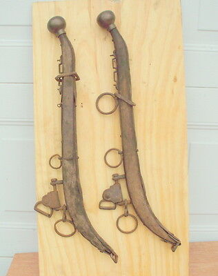 """2 Antique Wooden Horse Collar Hames / 28"""" Long / Brass Knobs / Rustic Display"""