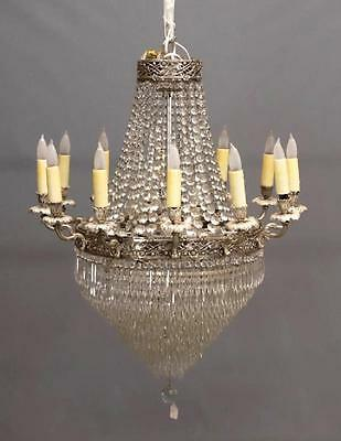 Antique French Empire Style Wedding Cake Beaded Basket 12 Arm Crystal Chandelier