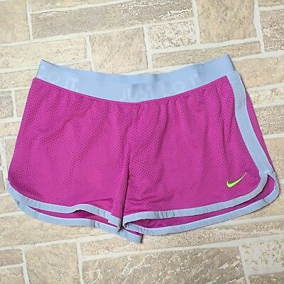 Womens NIKE Pink Gray Dri-Fit Running Athletic Workout Shorts Size L
