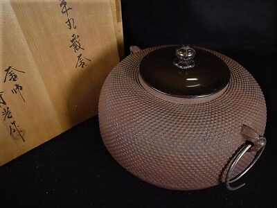 Antique Tea Ceremony CHAGAMA Japanese Iron kettle teapot VINTAGE from JAPAN a424