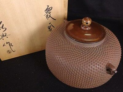 Antique Tea Ceremony CHAGAMA Japanese Iron kettle teapot VINTAGE from JAPAN a423