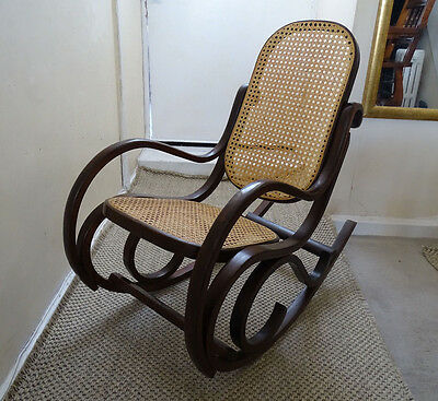C 1930 Bentwood Child's Rocking Chair with Cane Back and Seat