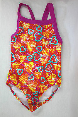 Girls SPEEDO Pink & Orange Heart Print RACERBACK One-Piece SWIMSUIT size 8 B3