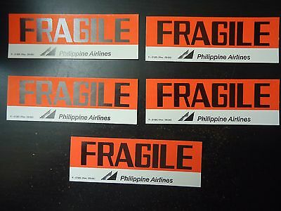 Lot of 5 Vintage Phillipines Airlines Fragile Decals