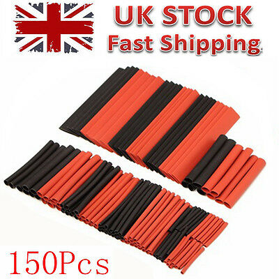 150Pcs Black&Red Heat Shrink Tubing Kit Wire Electrical Sleeving Tube