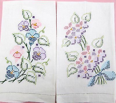 Pair Pretty Vintage Linen Kitchen/Guest Towels w Embroidered Pastel Flowers