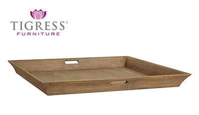 """""""Melrose"""" Solid Mango Wood Square Ottoman Tray with Handles"""
