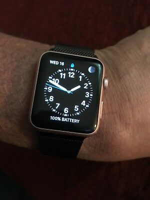 Apple iWatch Series 1 42mm Smartwatch Rose Gold Aluminum Case Stainless Band