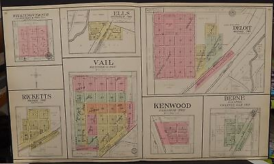 Iowa Crawford County Map Boyer Deloit Vail Kenwood Ricketts  1908 Dbl Pg  L12#83