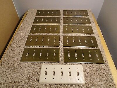 VINTAGE LOT of 11:  5 Gang Light Switch Wall Plate Covers- 10 BRASS & 1 BAKELITE