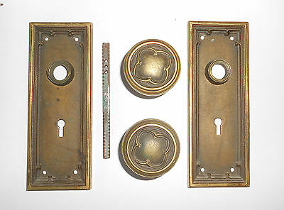 Sargent & Co Vintage Heavy Cast Brass Door Knobs And Back Plates