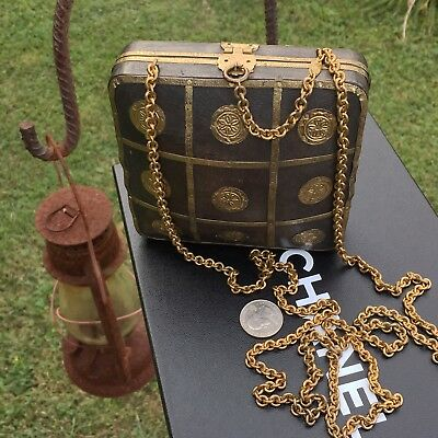 RARE! Authentic 1984 CHANEL CC Wooden Hand Bag Clutch Gold VTG Chain Purse Wood