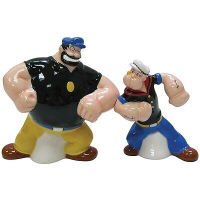 King Features POPEYE & BRUTUS Face Off Salt & Pepper Shakers Westland NIB 15128