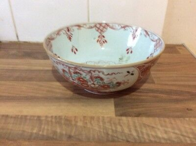 Antique Japanese Imari Flower Porcelain Bowl Old Repair