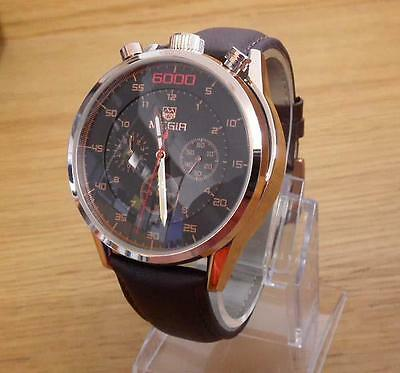 Mens Rose-Gold Steel Leather Retro Style Bullhead Chrono Watch NEW