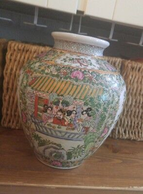 Hand Painted Japanese Vase, Geishas Girls Flowers Scrolls, 9 inches tall, 7 wide