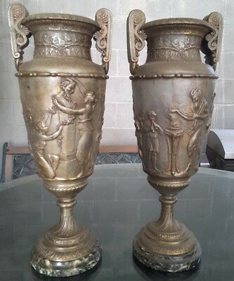 Pair Circa 1800s Victorian Spelter Vase Marble base Auguste Moreau Foundry Mark