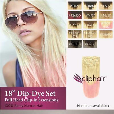 Dip-Dye Full Head Clip in Remy Human Hair Extensions