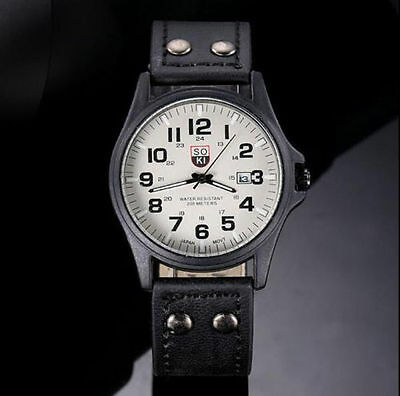 INFANTRY INFILTRATOR Mens Wrist Watch Analog Army Sport Black Leather USA