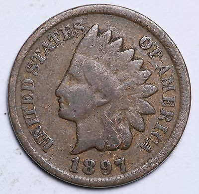 1897 Indian Head Cent Penny / Circulated Grade Good / Very Good 95% Copper Coin