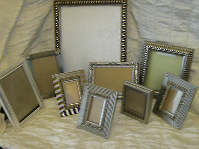 Lot Of 9 Silver Tone Glass Front Picture Frames Assortment metal wood